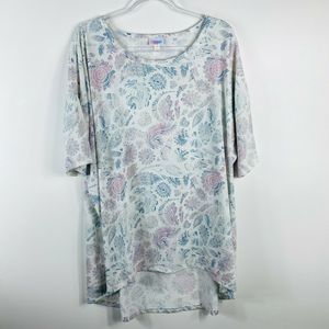 LuLaRoe Printed Irma Top Short Sleeve High Low